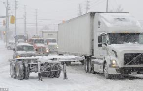 18-wheeler in snow