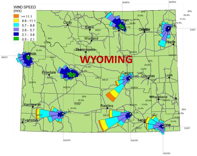 Map of snow roses at eight locations in Wyoming