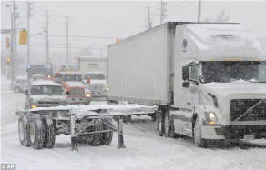 18-wheeler in snow