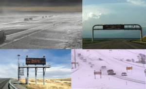 Photos showing roads under various weather conditions