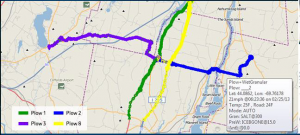 AVL-generated map showing routes traveled and plowing and spreading activities